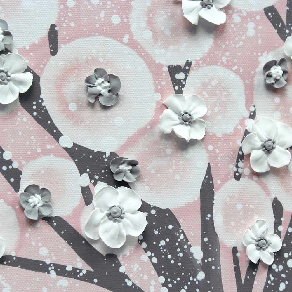 Pink and Gray Nursery Wall Art Tree for Baby Girl