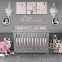 Pink and Gray Nursery Wall Art Tree for Baby Girl - Large ...