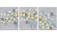 Gray and Yellow Wall Art Painting of Flowers on Canvas ...