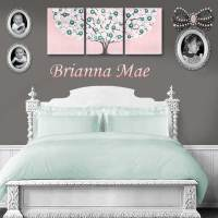 Pink and Teal Nursery Wall Art Tree on Canvas - Large ...