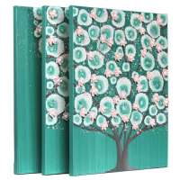 Teal and Pink Nursery Canvas Art Tree for Baby Girl ...