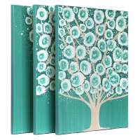 Teal Bedroom Wall Art Painting of Tree Triptych Canvas ...