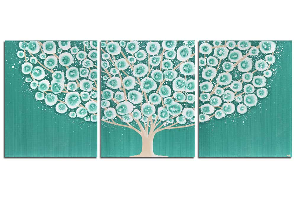Teal Bedroom Wall Art Painting of Tree Triptych Canvas