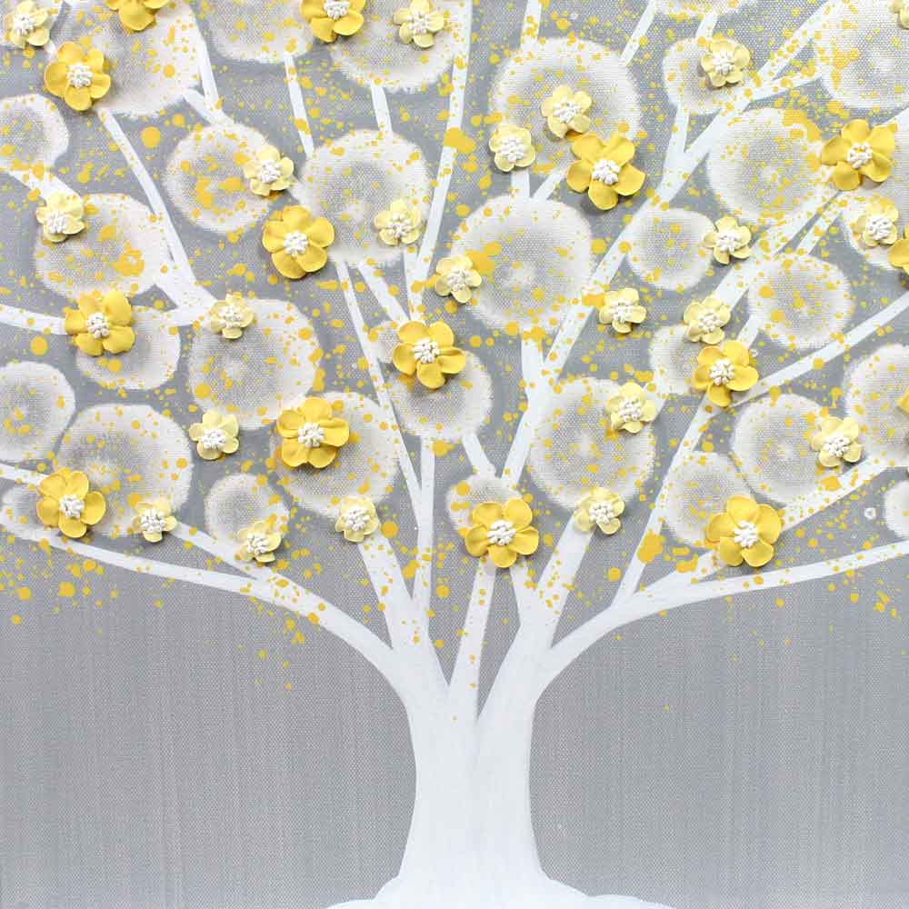 Gray and Yellow Wall Art Tree on Canvas Triptych