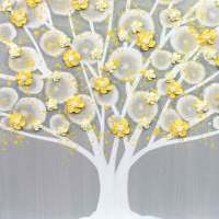 Gray and Yellow Wall Art Tree on Canvas Triptych - Large ...