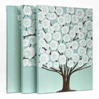 Canvas Wall Art Tree Painting Triptych in Teal Brown