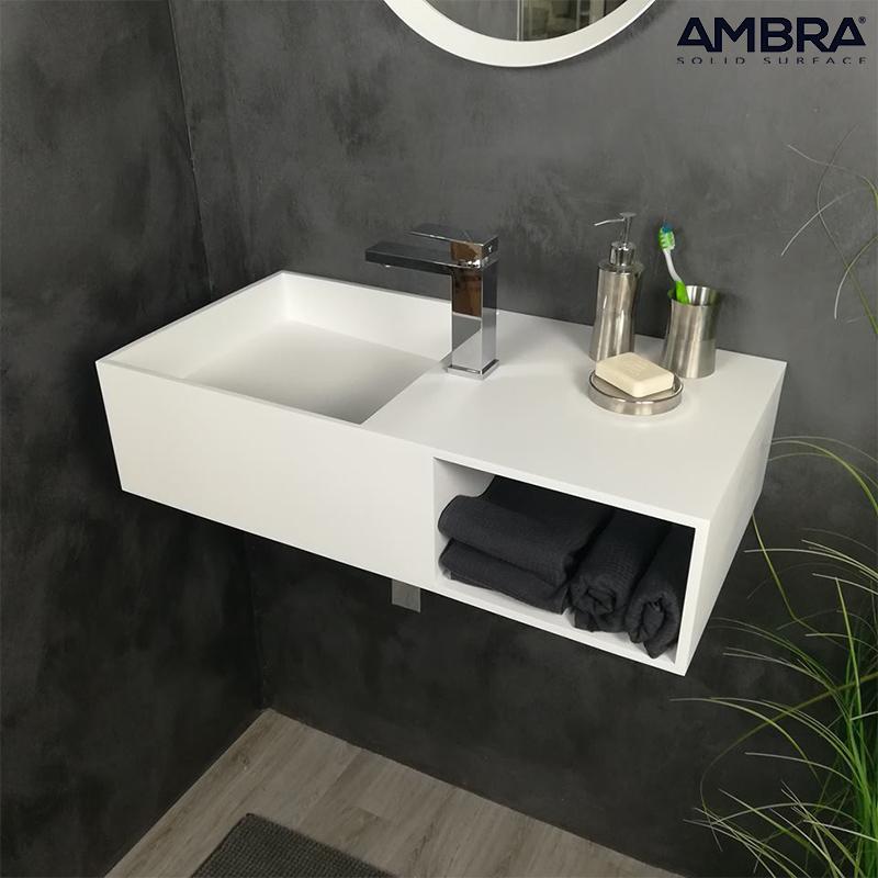 Meuble Vasque Suspendu 80 Cm En Solid Surface Ibiza Ambra Solidsurface Lavabo Baignoire Et Meubles De Douche Modernes Et De Qualite