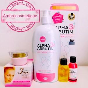 ALPHA ARBUTIN 3+ PLUS COLLAGENE AHA ALPHA ARBUTIN ACIDE KOJIQUE LAIT & SERUMS & CREME VISAGE GAMME ECLAIRCISSANTE 4 PIECES