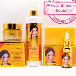 GAMME ECLAIRCISSANTE GLUTATHIONE COMPRIME TEINT DIAMANT ACIDE HYALURONIQUE ULTRAVITAMINES 24K GOLD 4 PIECES