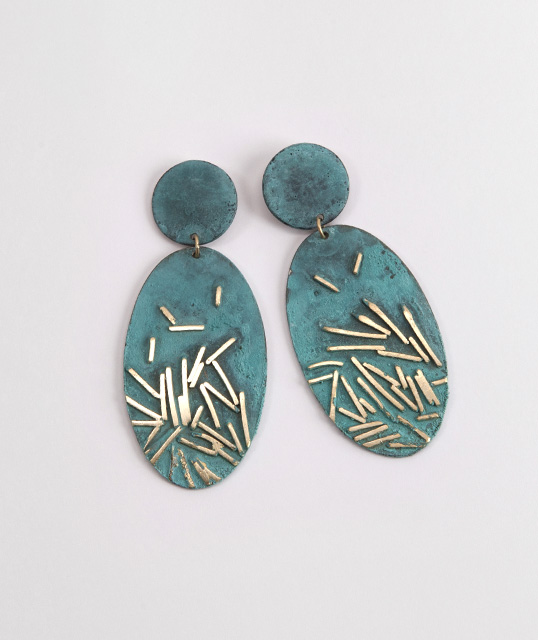 earrings, 2015 : patinated silver, gold