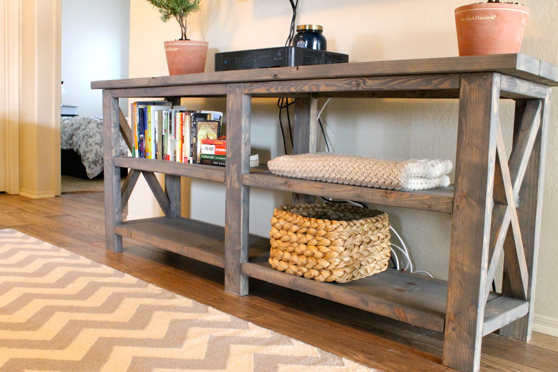 make a rustic sofa table most comfortable convertible bed x console me three shelves are little bare i know plan on crocheting few more