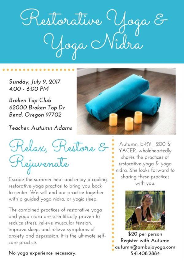 Bend Oregon yoga nidra and restorative yoga