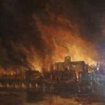Xilogravura representando o Grande Incêndio de Londres em 1666, que Lilly previu com exatidão em 1651.