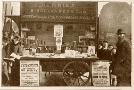 Banca de livros usados, na Inglaterra, século XIX