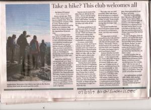 scanned copy of Boston Sunday Globe article titled Take a hike? This club welcomes all