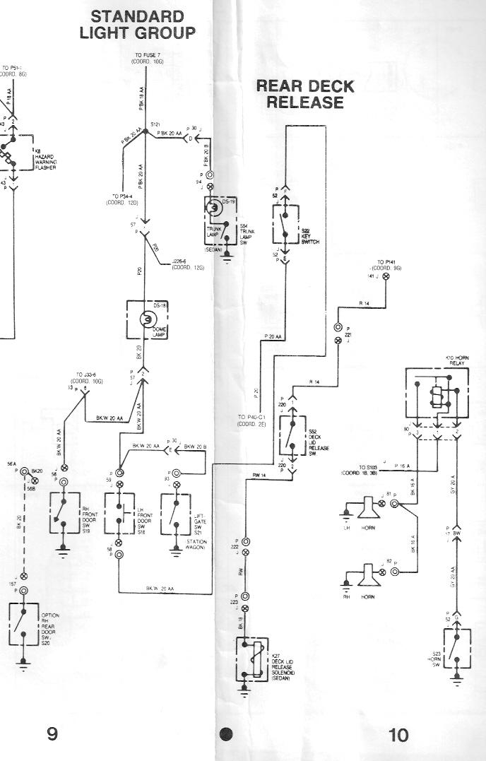 Standard Light Group; Rear Deck Release; and Horn Wiring