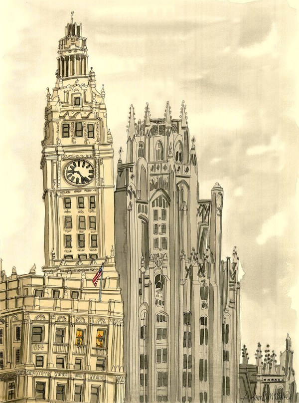 Working late, Wrigley Building