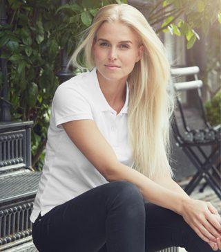 Blank Fairtrade white polo shirt