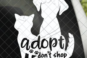 Adopt don't shop, cat and dog vinyl car decal