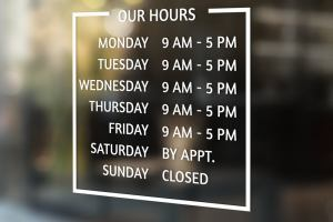 Hour of Operation | Business Hours | We are open Decal | Business Vinyl | Business Signs
