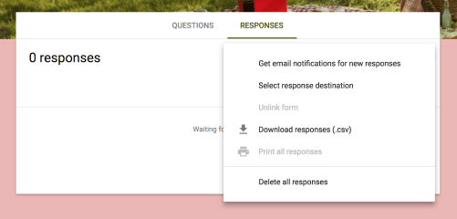 instructions to select email notification for google form submission