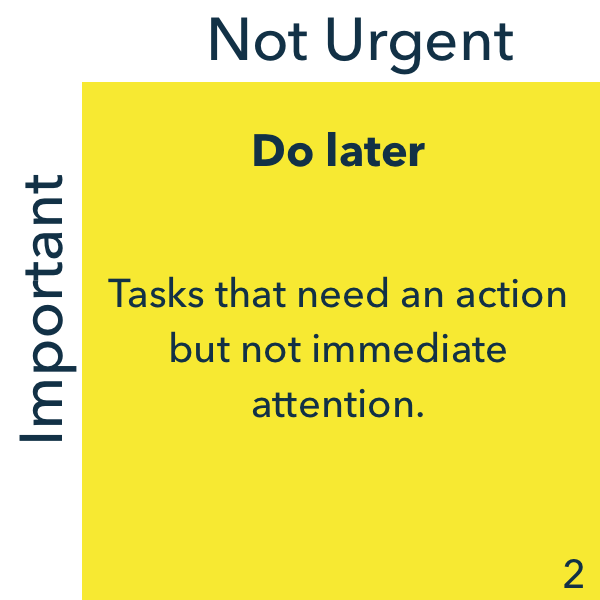 Urgent and not important, do later