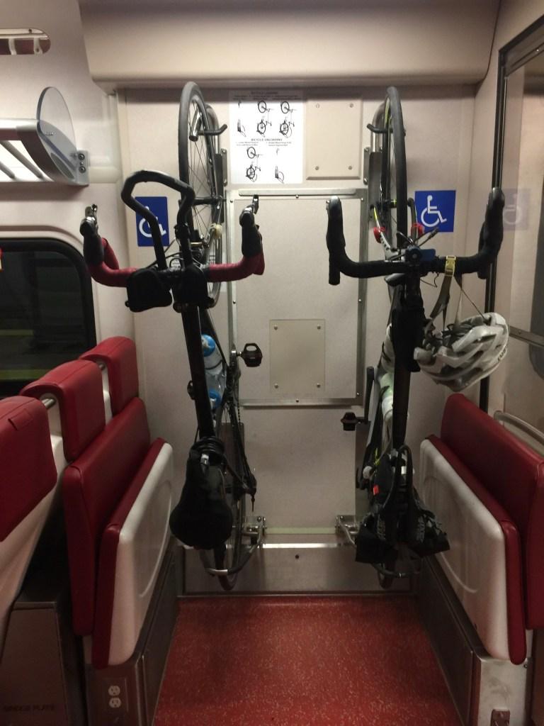 2 bikes on a train