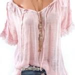 Women Lace Crochet Short Sleeve Shirts