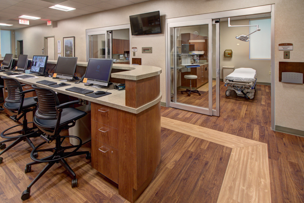 Nurse's station and view into hospital room