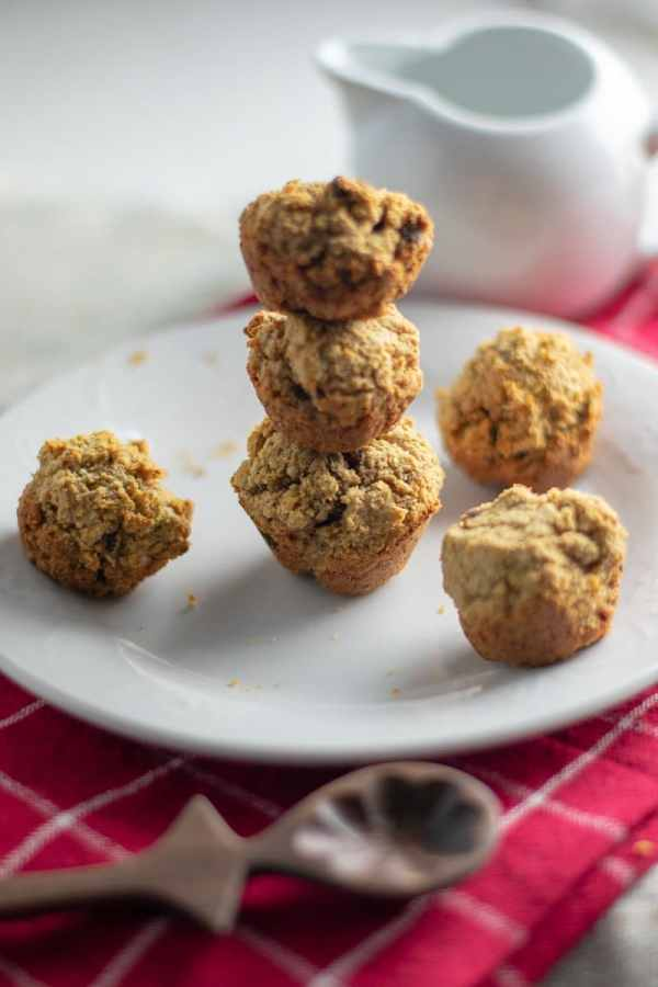 Mini muffins in tower on white plate