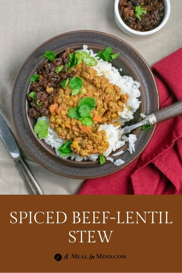 Spiced Lentils with Beef in brown bowl overhead