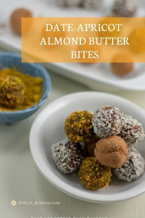 date-apricot almond butter bites on white plate