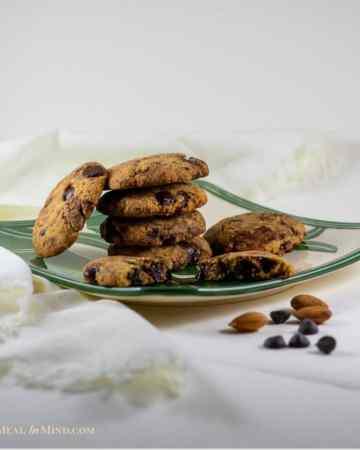 almond flour dark chocolate chip cookies on hawaiian plate side view