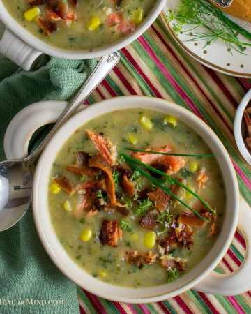 flavorful steelhead potato chowder with bacon in white bowl