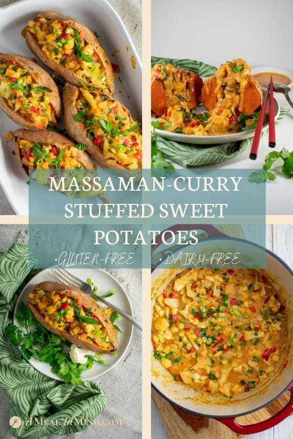 pinterest collage 2 for thai massaman curry stuffed sweet potatoes