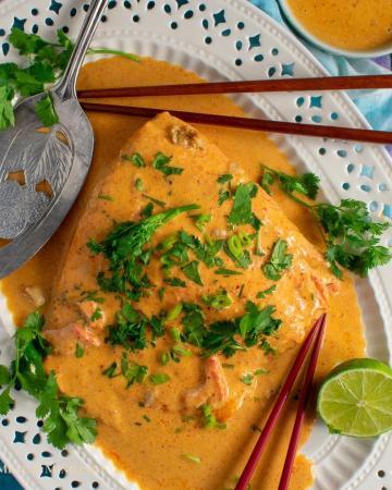 easy massaman thai salmon curry on white platter