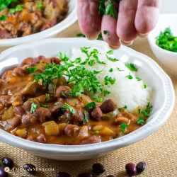 delicious red beans and rice 2 ways in white bowls