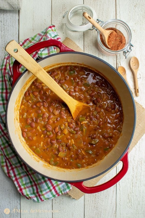 delicious red beans and rice 2 ways gluten free in Dutch oven