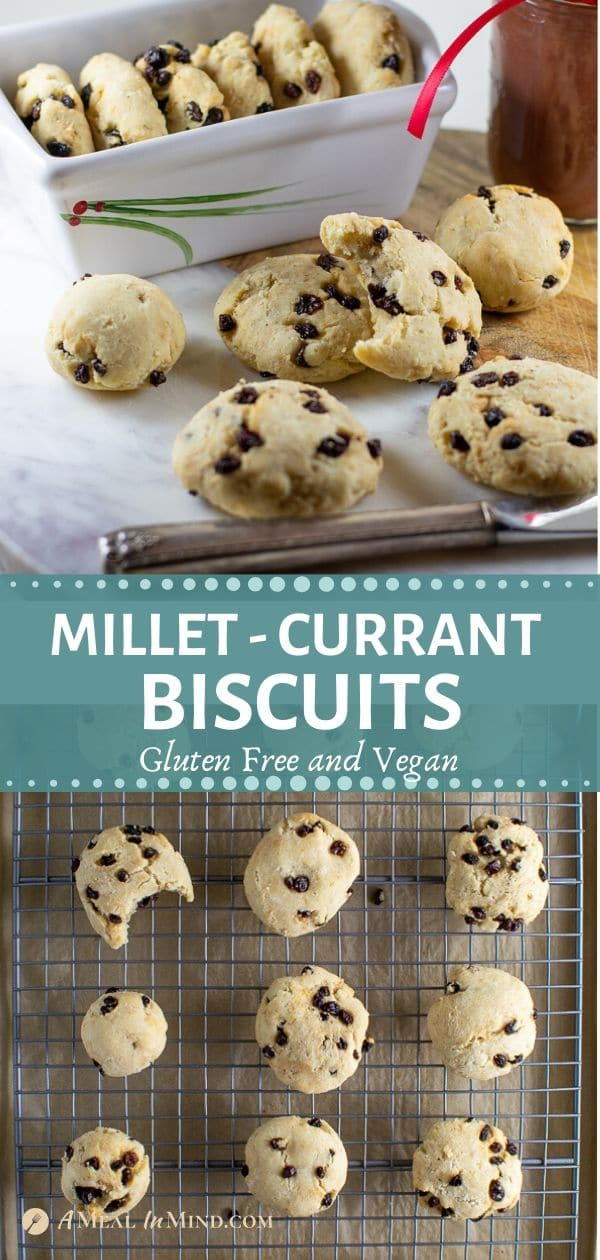 pinterest collage of savory millet-currant biscuits