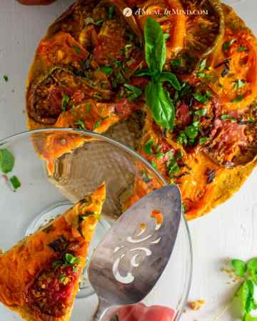 savory roasted heirloom tomato tart with chickpea-walnut filling