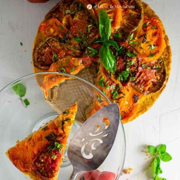 savory roasted heirloom tomato tart with chickpea-walnut filling