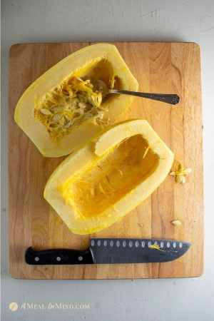 cut squash for gluten-free spaghetti squash Greek pastitsio
