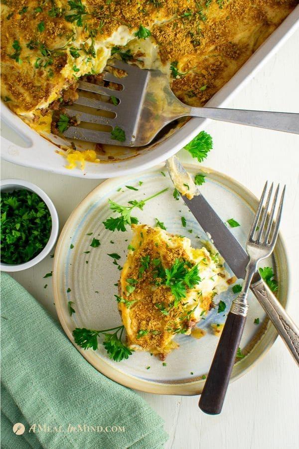 gluten-free spaghetti squash Greek pastitsio on white plate
