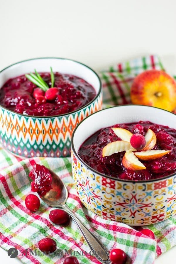 easy cranberry sauce with apples in small bowls