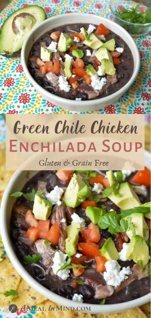 Green chile chicken enchilada soup tall pinterest collage with soup in white bowls