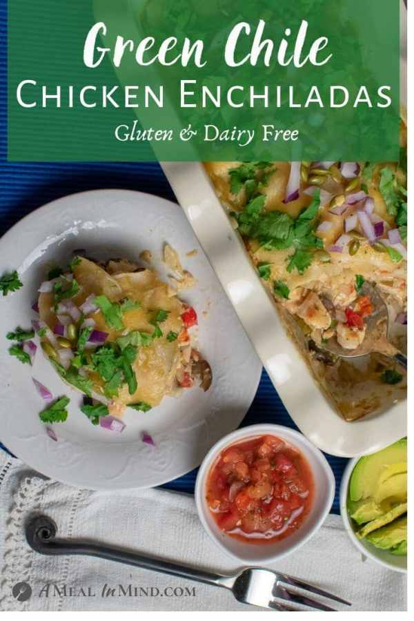 pinterest image of layered green chile enchiladas with toppings
