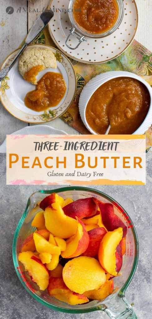 three-ingredient peach butter in small dishes