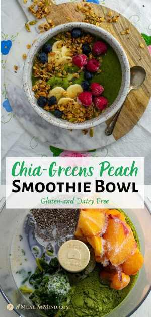 Chia-Greens Peach Smoothie Bowl pinterest collage