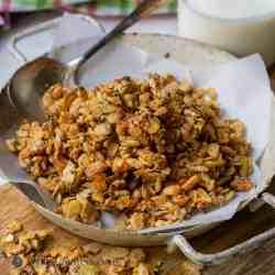 Flax hemp granola with rice Crisps in small dish