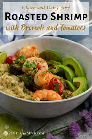 Roasted Shrimp with Broccoli and Tomatoes in white bowl